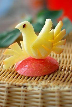苹果鸟的做法——水果拼盘