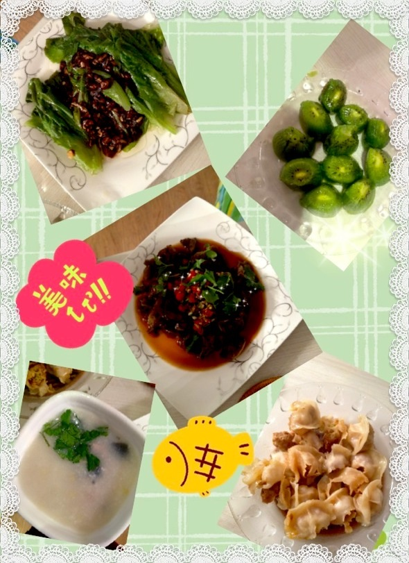 生菜瘦肉+凉拌名称+木耳皮蛋粥+蚝油_Triang锅贴营养食品图片