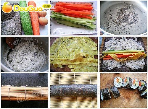 糖适量      盐少许      寿司(紫菜包饭)的做法视频制作步骤 1.