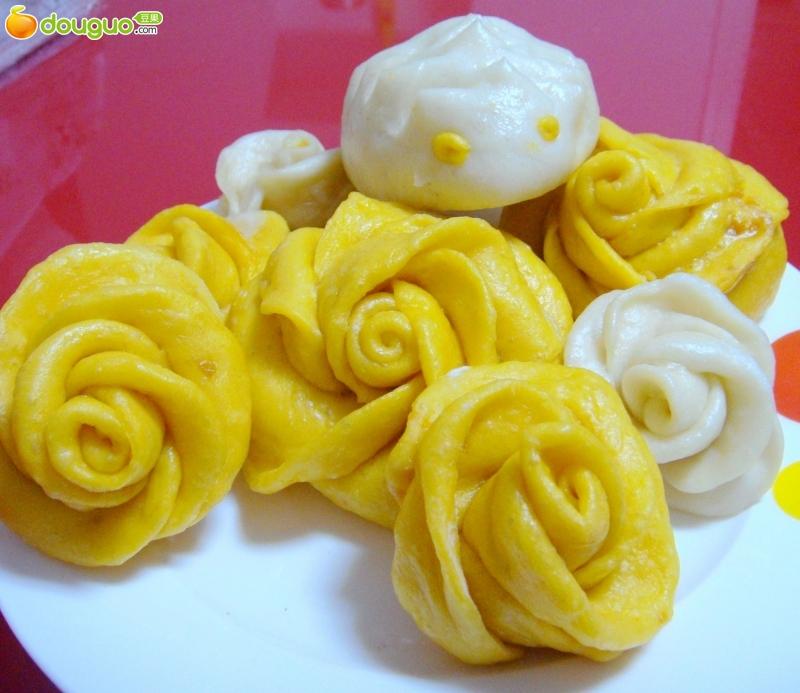 玫瑰花南瓜馒头的制作步骤