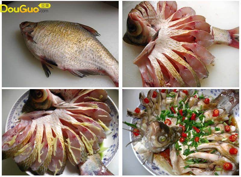 孔雀开屏鱼的制作步骤 1 葱姜切成丝,另外切一些葱段和姜片,小米椒