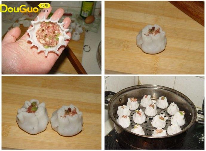 水晶蒸包的制作步骤 猪肉馅加入盐
